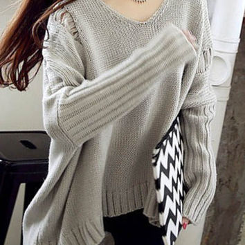 Gray V-Neck Long Sleeve Broken Hole Hooded Sweater
