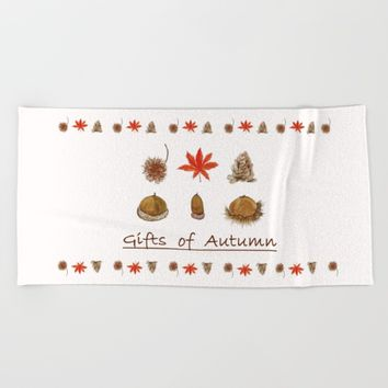 Gift of autumn watercolor painting  Beach Towel by Color and Color