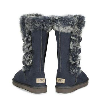"""UGG"" Winter Fashion Women Fur Wool Snow Boots Half Boots Shoes Blue I/A"