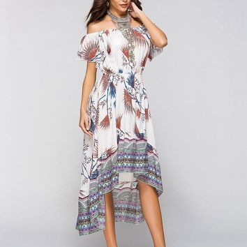 Boho Off Shoulder Angular Maxi Dress
