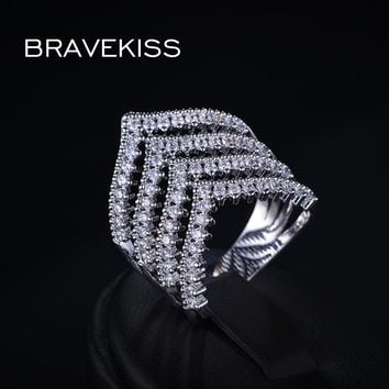 BRAVEKISS unique cz stone pave chevron v shape row finger rings for women big party wedding ring band alliance jewel BUR0177B