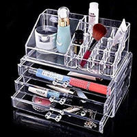 8milelake New Makeup Clear Acrylic Organizer Drawers Grids Display Box Storage 3 Layers
