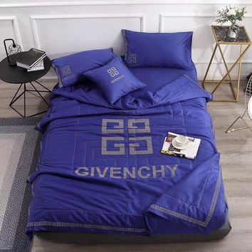 Blue GIVENCHY Bedding Blanket Quilt Coverlet Pillow Shams 5 PCS Bedding Set