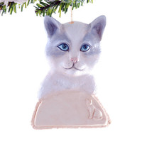 White and Grey Cat Christmas ornament - Personalized cat ornament - ornament for your cat with his or her name it.