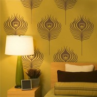 peacock feathers wall decal set by beepart on Etsy