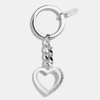 PAVE CURB CHAIN HEART KEY RING