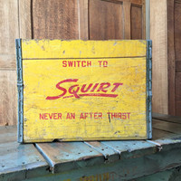 Vintage Wood Crate, Wood Squirt Crate, North Chicago Illinois Large Squirt Crate, Red And Yellow Squirt Collectibles