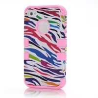 MagicSky Plastic + Silicone Tuff Dual Layer Hybrid Colorful Zebra Pattern Case for Apple iPhone 4 4S 4G - 1 Pack - Retail Packaging - Baby Pink