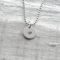 Teeny Tiny Heart Necklace, Sterling Silver Jewelry, Tiny Heart Pendant, Hand Stamped Jewelry, Small Heart Necklace, Charm Necklace