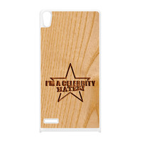 Carved on Wood Effect_Celebrity Hater White Silicon Rubber Case for Huawei P6 by Chargrilled
