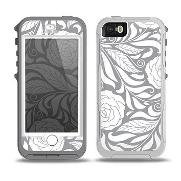 The Gray Floral Pattern V3 Skin for the iPhone 5-5s OtterBox Preserver WaterProof Case