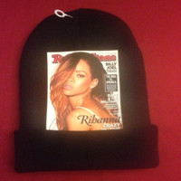 "KB ""Rih-cover"" one of a kind Rihanna Rolling Stones cover on black."
