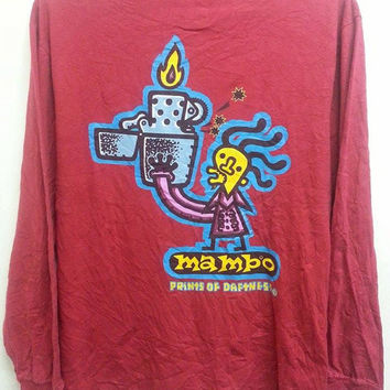 Sale Vintage 1990s Mambo Print Of Daftness Style Surf Long Sleeved T Shirt