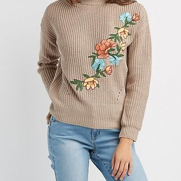 Floral Embroidered Cold Shoulder Sweater | Charlotte Russe