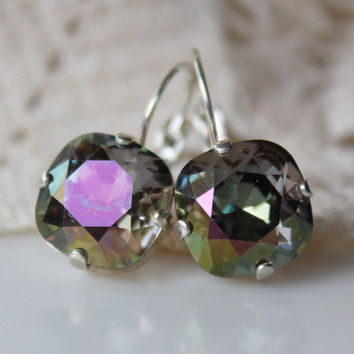 NEW: Passion Flower, Starlight Earrings, Crystal Leverback, Cushion Cut Square, Crystal Earrings, 12mm Square, Green, Pink