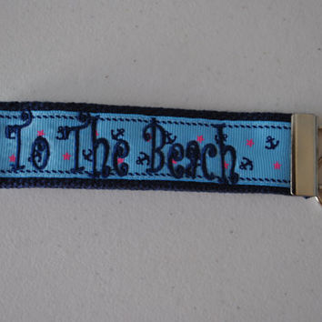 To the Beach - Monogrammed Key Fob Keychain Cotton Webbing ANCHOR Ribbon Wristlet