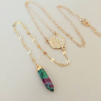 Long Gold lariat Y Necklace w/ CZ disc and semi precious stone spike. Boho chic. Unique. Layer. Gift. Long and layered.