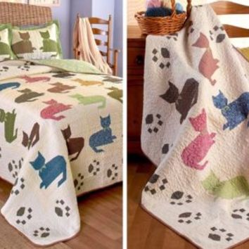 Quilted Meow Bedding Collection Cat Silhouettes & Paw Prints - Reversible Quilt