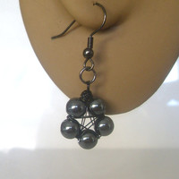 Handmade Black Plated Hematite Wire Wrapped Pentagram Earrings. Pentacle Earrings, Wiccan Jewelry, Pagan Symbol, Sacred Geometry, Dark Star