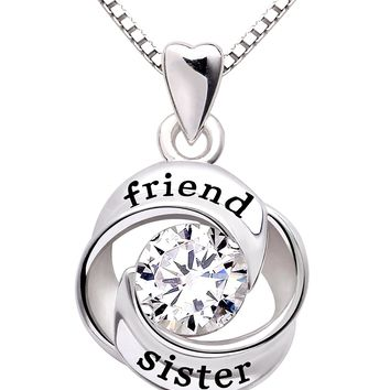 Jewelry Sterling Silver friend and sister Love Heart Cubic Zirconia Pendant Necklace