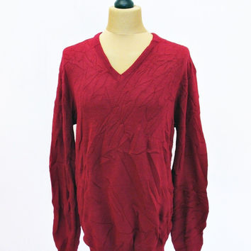 Vintage 1990s Plain V-Neck Red Jantzen Jumper Sweater XL