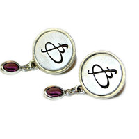 Hand Stamped Jewelry Post Earrings - Pewter Bezel - Aluminum Initial Jewelry