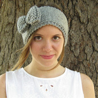 Knit bow headband, gray ear warmer, head wrap, winter headband, gray, red, teal, ivory, choose your color