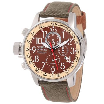 Invicta 12082 Men's I-Force Lefty Brown Dial Olive Green Fabric & Leather Strap Chronograph Watch