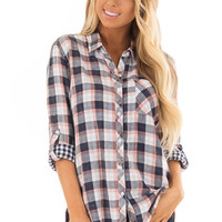 Navy and Coral Plaid Button Up Top with 3/4 Sleeves
