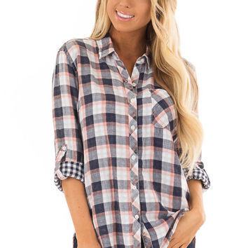 ca940f10 Navy and Coral Plaid Button Up Top with 3/4 Sleeves