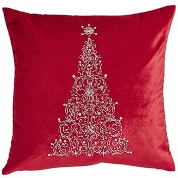 Red Beaded Tree Pillow