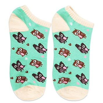 Owl-Patterned Ankle Socks