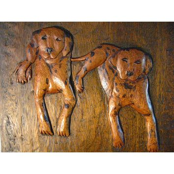 Dalmatian Wood Carving Puppies Folk Art Wall Decor