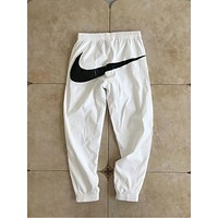 "Hot Sale ""Nike"" Popular Women Men Leisure Hip Big Logo Print Pant Foot Double Zipper Drawstring Sport Stretch Pants Trousers Sweatpants White I-AA-XDD"