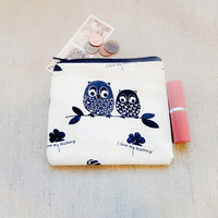 Make Up Bag/ Owl Gift for Her/ Mothers Day Gift/ Gift for Mom/ Gift for Wife/ Best Friend Gift/ Coworker Gift/ Sister Gift/ Coin Purse