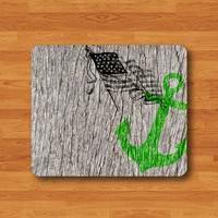 Green ANCHOR WOOD US Flag Mouse Pad Wooden Print MousePad Rectangle Matte Personalized Gift Desk Deco American Gift Love The Day Office Pad