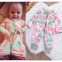 Newborn Infant Baby Boys Girls Kids Clothing Cotton Romper Jumpsuit Colorful Warm Zipper Rompers Baby Girl Clothes Outfit