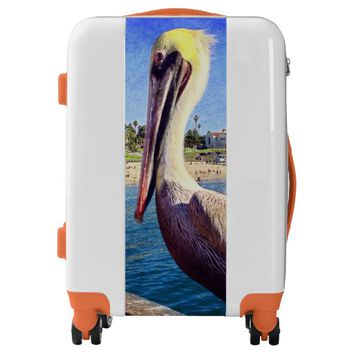 Cute beach pier pelican photo luggage suitcase