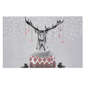 "Nika Martinez ""Christmas Deer Snow"" White Holiday Decorative Door Mat"