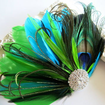 Bride Bridesmaid Feather Hair Accessory, Feather Fascinator,Peacock, Hair PIece,Aqua Blue, Black, Lime Green, Feather, Hair Clip