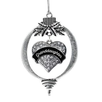 Black and White Granddaughter Pave Heart Charm Holiday Ornament