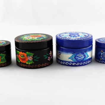 Lot of 4 Boxes Round Decorated Hand Painted Handmade Souvenir Gift Handicraft Diameter