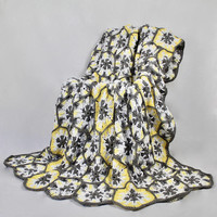 Snowflake Blanket - Afghan - Hexagon Crochet Blanket - Gray Yellow and White Throw - Bed Cover