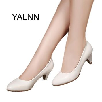 YALNN Elegant New Women shoes  leather 5cm med heel High Quality Shoes Classic White Pumps Shoes Office Girls Shoes