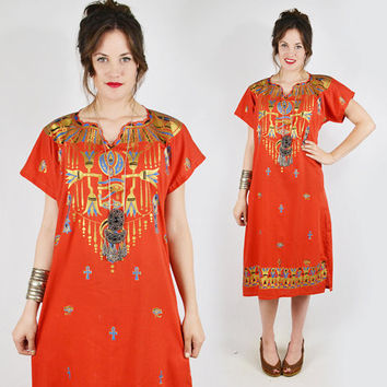 vtg 70s boho hippie ethnic EGYPTIAN HIEROGLYPH novelty print festival CAFTAN tunic midi dress S M