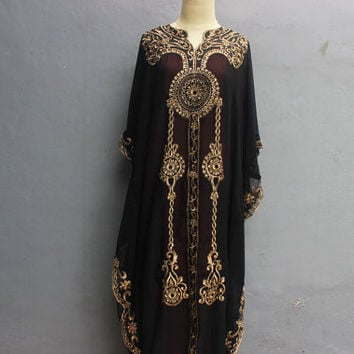 Long Sleeved Kaftan Dress Dubai abaya Caftan Dress Moroccan evening wear Black Kaftans Maxi Gold Embroidery dress