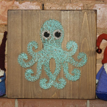 Nursery decoration, octopus string art made on reclaimed wood planks, perfect decor for kids room or a gift for newborn, wall decoration