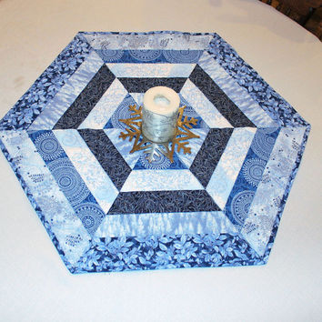 Snowflakes Quilted Table Runner, Blue and Silver Hexagon Table Topper, Christmas Table Runner Quilt