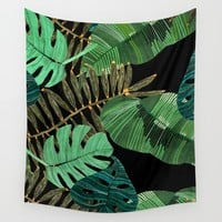 Tropical Leaves Wall Tapestry by Gemma Rose Textiles