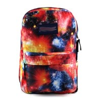 Mixed Color Universe Starry Sky Print Canvas Book Bag Backpack